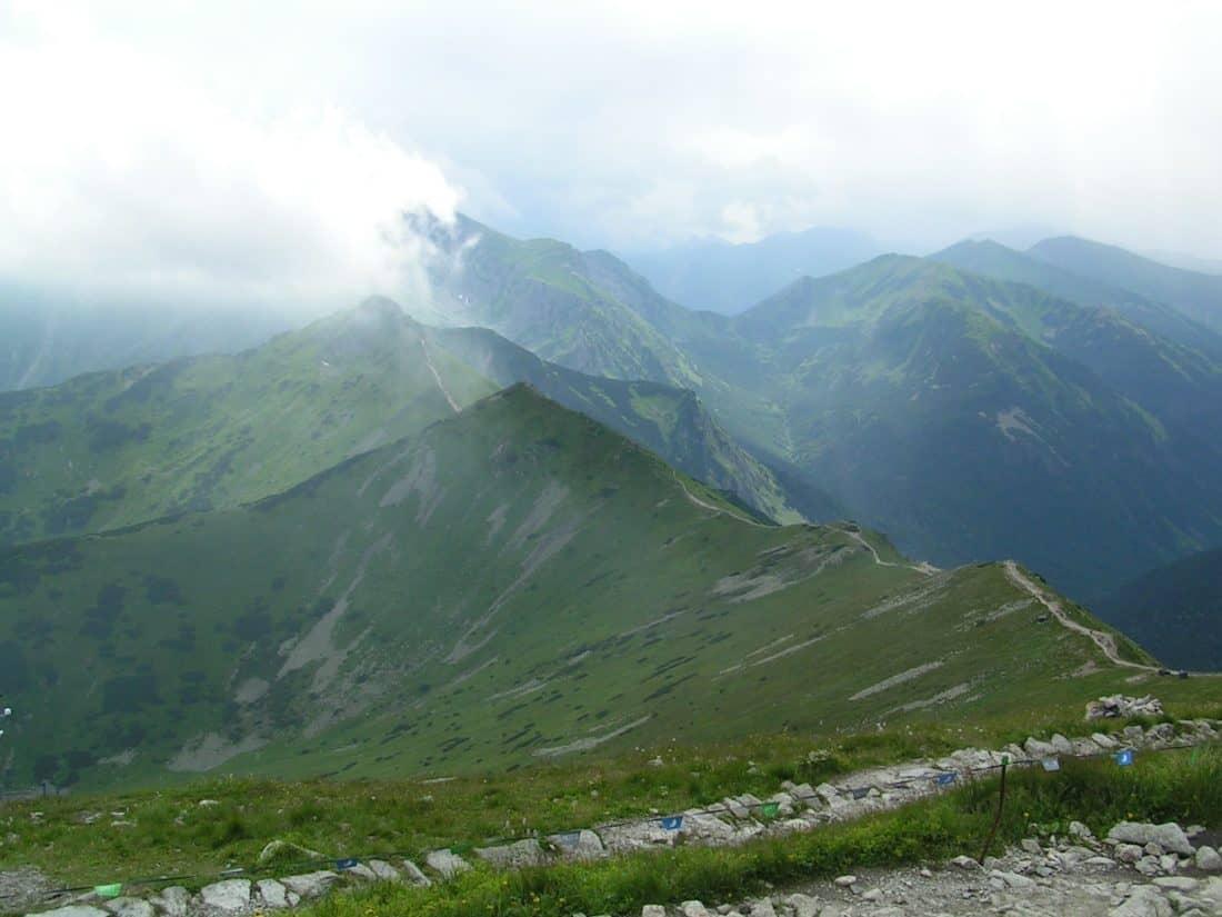 pegunungan, lansekap, kabut, dedaunan, alam, salju, langit, Kolam