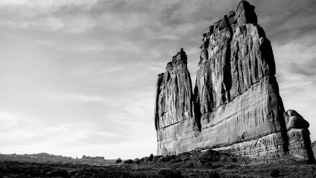 outdoor, mountain peak, monochrome, megalith, stone, geology, sky