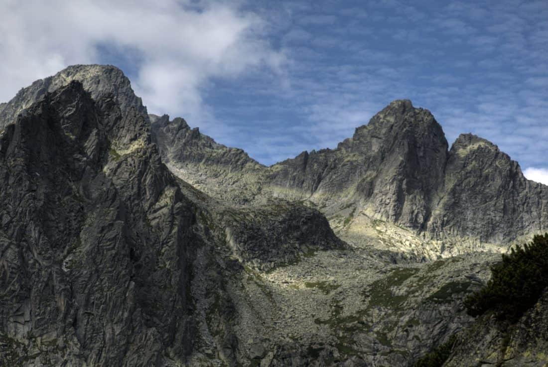 landscape, mountain peak, cliff, cloud, blue sky, mountain, nature, outdoor