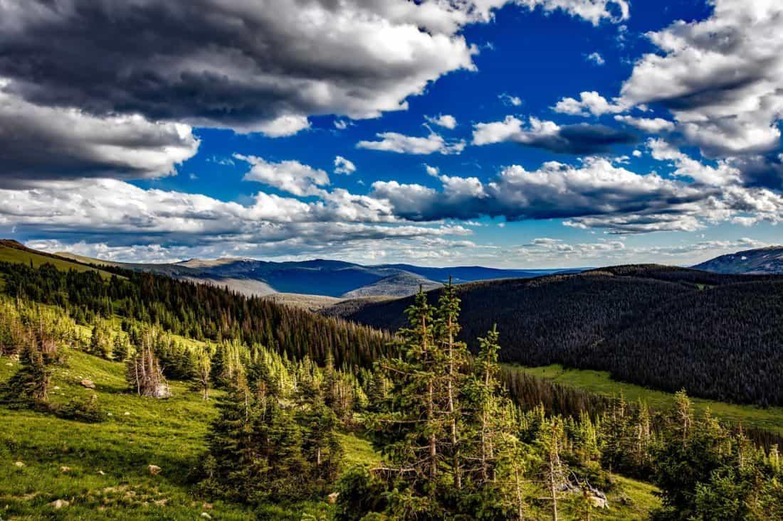 landscape, sky, nature, cloud, national park, conifer, mountain, forest, tree