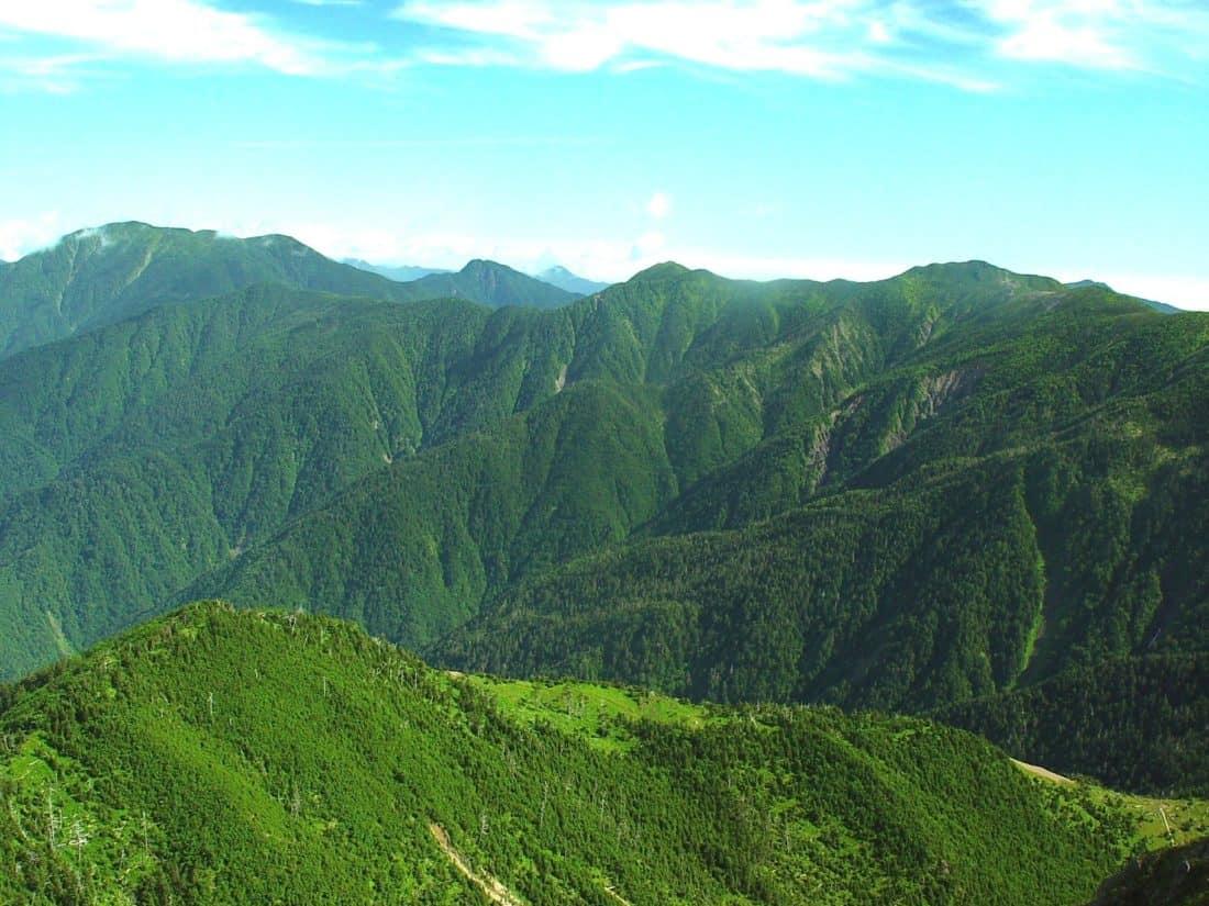 pegunungan, lansekap, hijau, dedaunan, geologi, alam, langit, Kolam