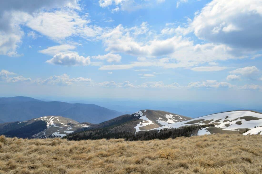 mountain, landscape, blue sky, snow, pasture, nature, geology, cloud, mountain peak