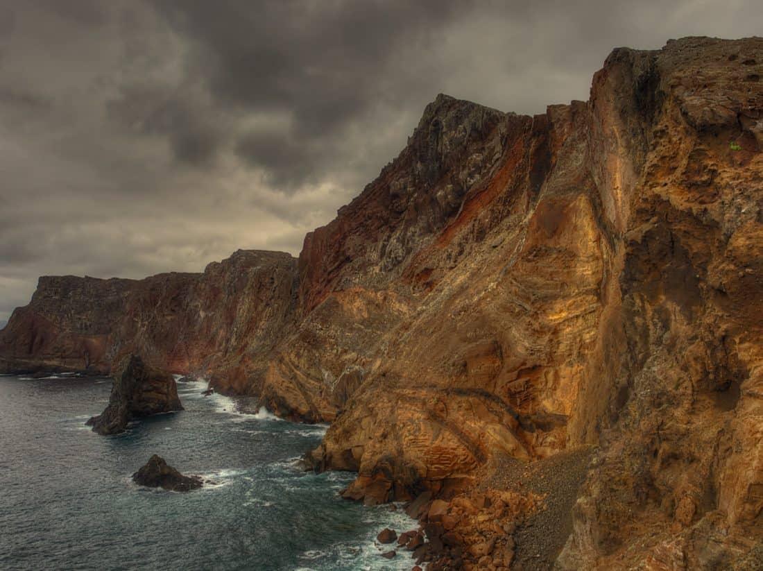 water, landscape, seashore, high, cloud, coast, ocean, cliff, mountain, canyon