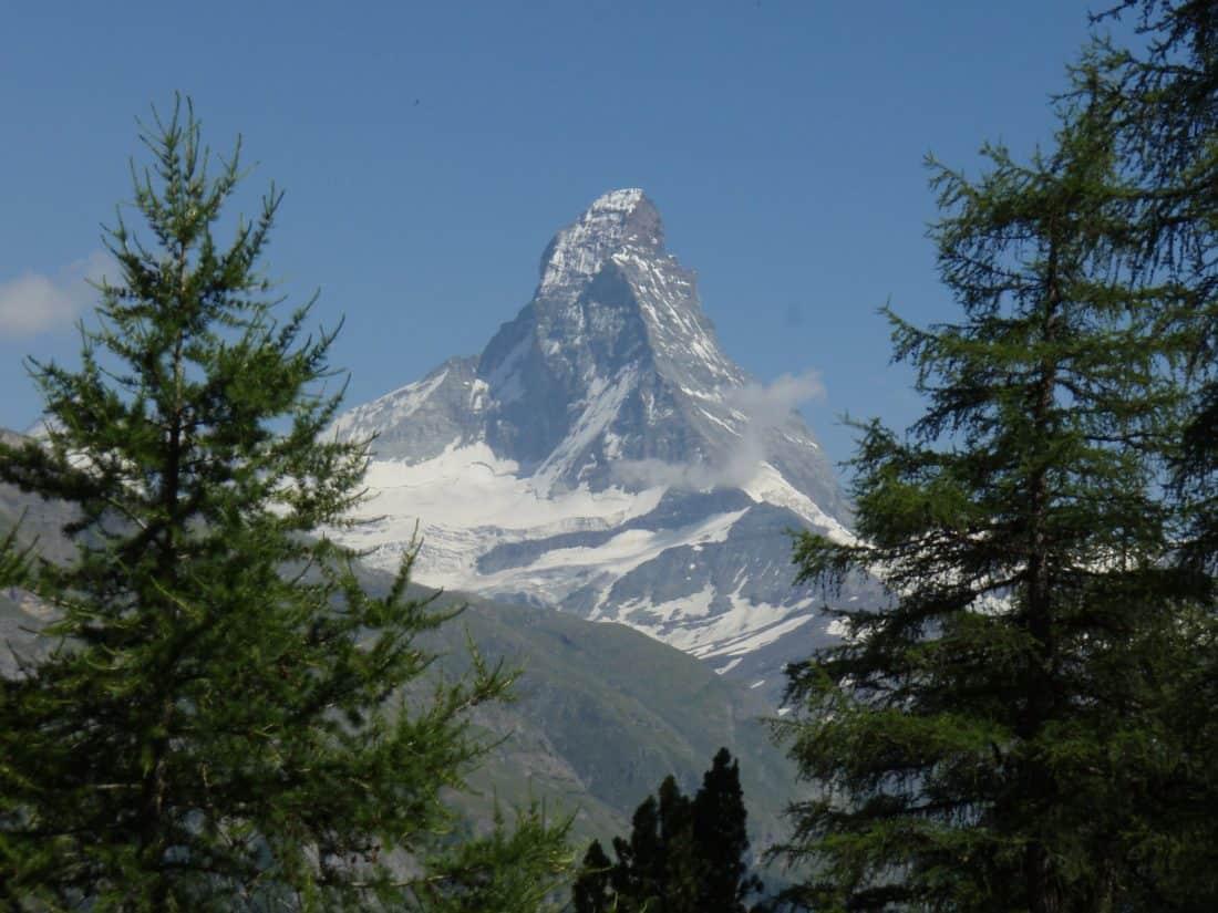 snow, mountain peak, geology, conifer, evergreen, winter, tree, landscape