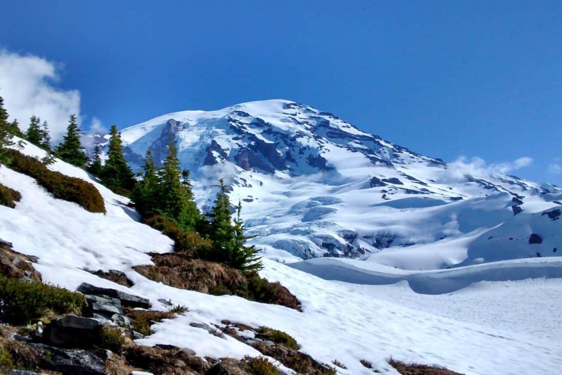 sne, bjerg, vinter, is, frost, blå himmel, nationalpark, udendørs, sky, natur