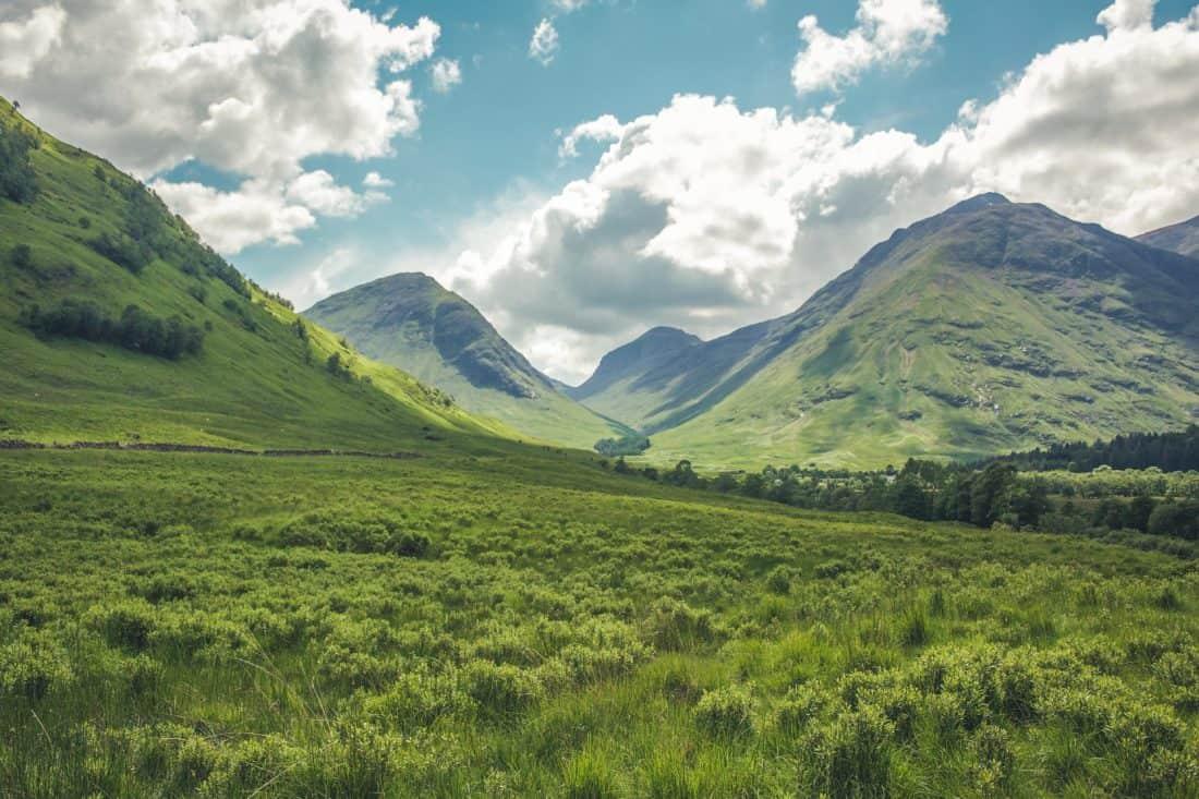 landscape, mountain, nature, grass, foliage, pasture, sky, glacier, valley