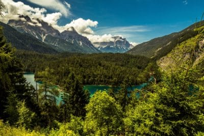 bjerg, træ, landskab, udendørs, geologi, natur, himmel, dal, skov