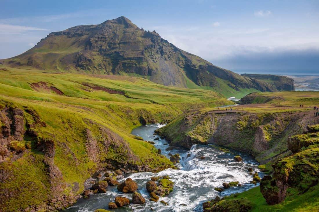 water, landscape, mountain climbing, river, mountain, valley, blue sky, outdoor