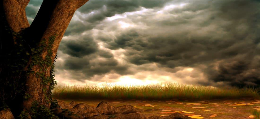 Искусство, пейзаж, дерево, облако, солнце, облака, пейзаж, закат, Рассвет, небо, природа