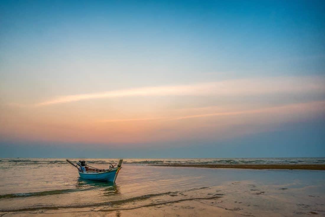 acqua, spiaggia, sabbia, mare, alba, barca, sole, mare, Costa, cielo