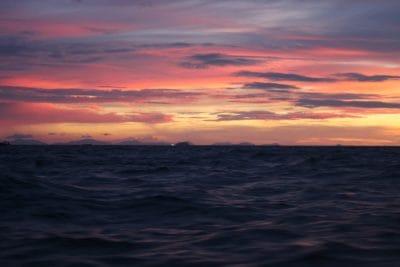 sunrise, darkness, dark, night, cloud, dawn, dusk, sun, water, ocean, sea, sky, beach