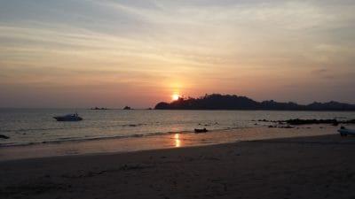 Napkelte, ég, tengerpart, víz, dawn, strand, nap, óceán, tenger, partvonal