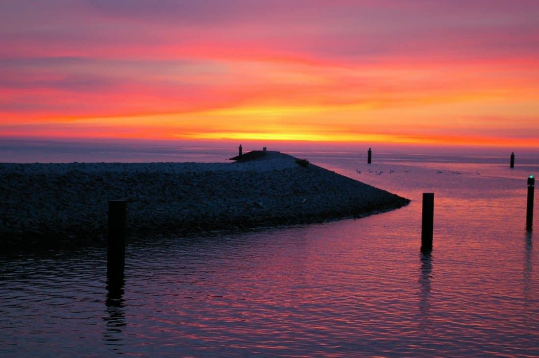 Alba, ombra, alba, acqua, riflessione, tramonto, mare, natura, sole, cielo