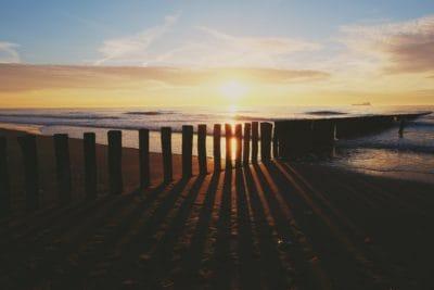 matahari terbit, siluet, air, fajar, laut, pantai, laut, senja, seashore