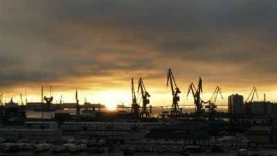 Sunrise, solljus, dawn, vatten, sky, city, industrin, kran, port