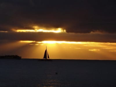sunrise, boat, silhouette, water, ocean, sea, dawn, sailboat, watercraft