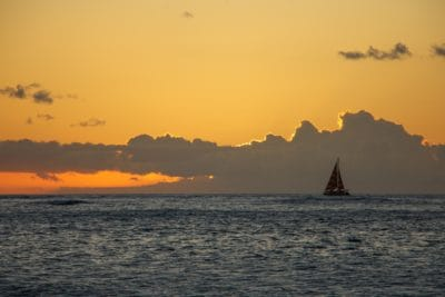 sunrise, sailboat, pacific, water, dawn, sea, dusk, ocean, beach, sun, sky
