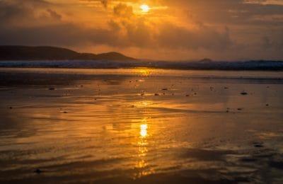 lever du soleil, aube, eau, réflexion, soleil, crépuscule, obscurité, plage, océan