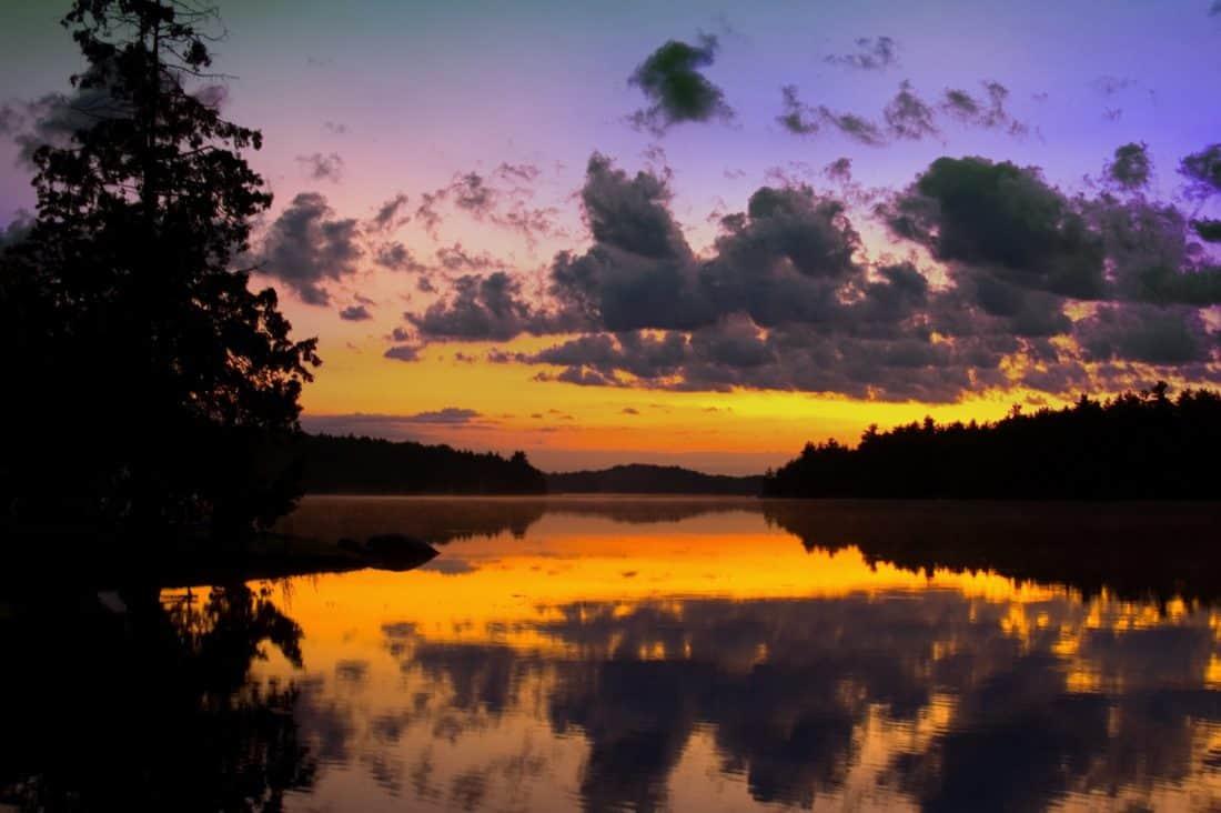 Cloud, tieň, sunrise, krajina, strom, dawn, neba, slnko, voda, jazero