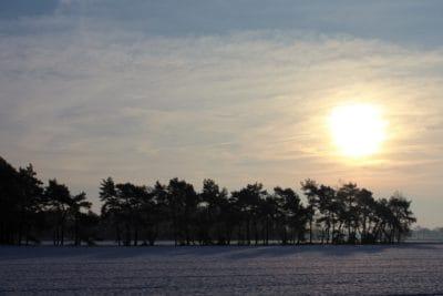 Sonnenaufgang, Landschaft, Wasser, Dawn, Baum, Sonne, Schnee, frost