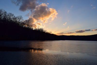 východ slunce, mrak, stín, tmavé, podsvícení, dawn, voda, krajina, jezero, venkovní, obloha