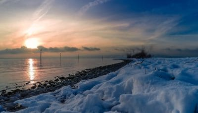 winter, dawn, landscape, snow, sunrise, frost, coast, ice, water, mountain