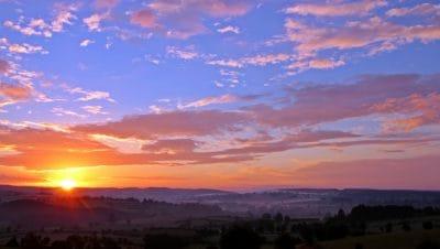 Wschód słońca, sylwetka, cień, świcie, zmierzchu, słońce, niebo, natura, atmosfera, krajobraz