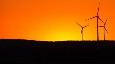 windmill, silhouette, sunrise, hill, sunlight, backlit, electricity, wind