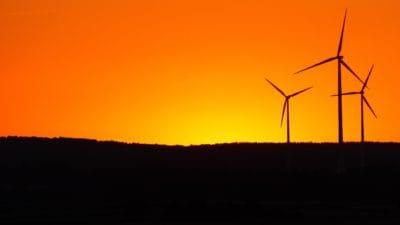Moulin à vent, silhouette, sunrise, hill, lumière du soleil, rétro-éclairé, électricité, éolienne