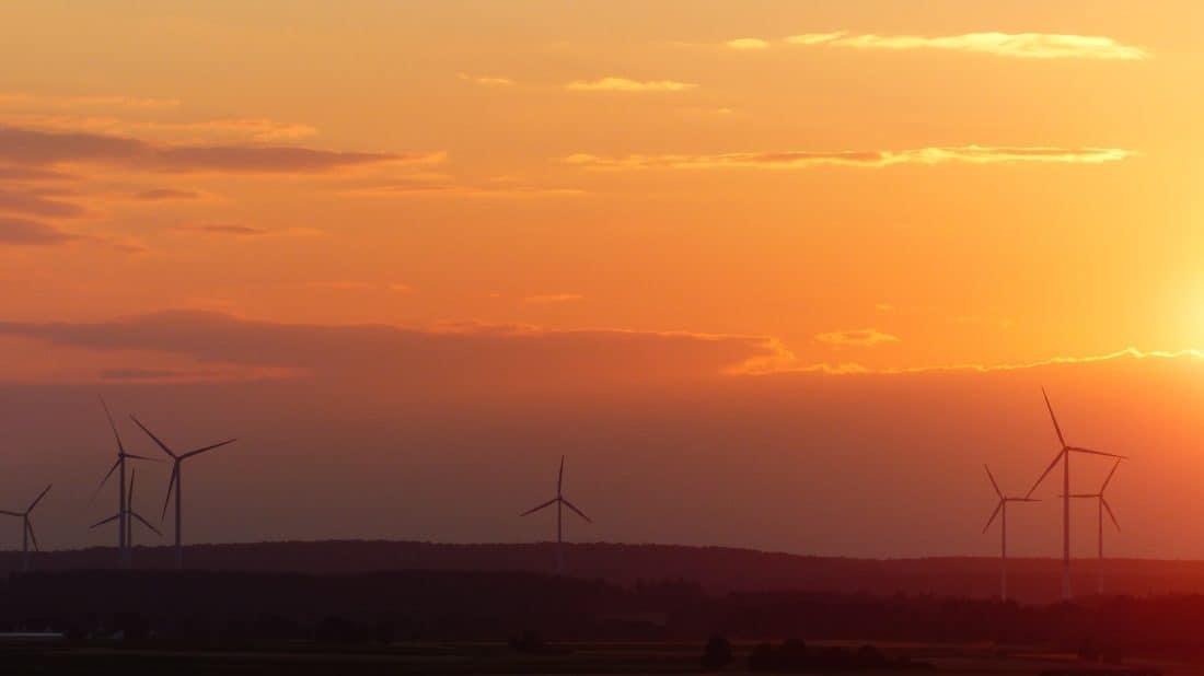 sähköä, tuulimylly energia, sunrise, siluetti, tuuli, turbiini