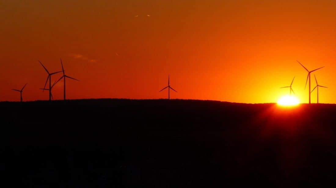 wiatrak, energii elektrycznej, energii, wiatr, wschód słońca, cień, noc, sylwetka, alternatywa