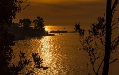 lever du soleil, silhouette, plage, eau, aube, crépuscule, paysage, océan, bord de mer