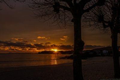 일출, 밤, 어둠, 새벽, 해, 황혼, 백라이트, 물, 실루엣