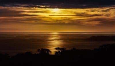 lever du soleil, silhouette, aube, soleil, crépuscule, ciel, paysage, océan, atmosphère