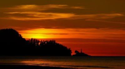 matahari terbit, siluet, dawn, senja, air, matahari, backlit, langit, Pantai