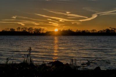 silhouette, lever du soleil, crépuscule, l'aube, reflet, eau, lac, paysage, crépuscule