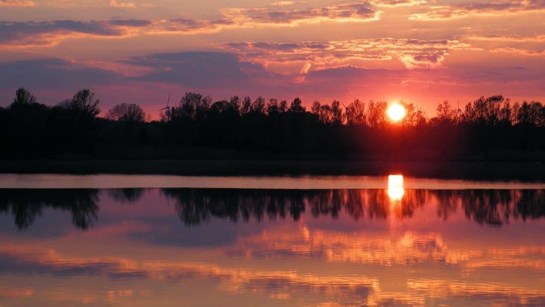 Alba, Parco nazionale, nebbia, alba, acqua, riflessione, lago, tramonto, sole, cielo