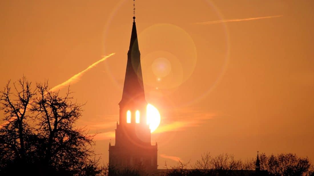 Зора, Изгрев, дърво, силует, архитектура, църква, религия, стари, Открит