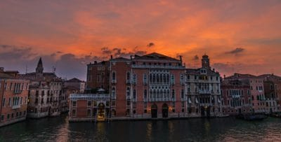 building, urban, sky, downtown, canal, water, architecture, river, city, sunrise