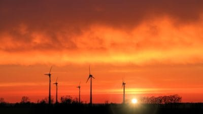 sunrise, sky, nature, electricity, energy, windmill, wind, silhouette
