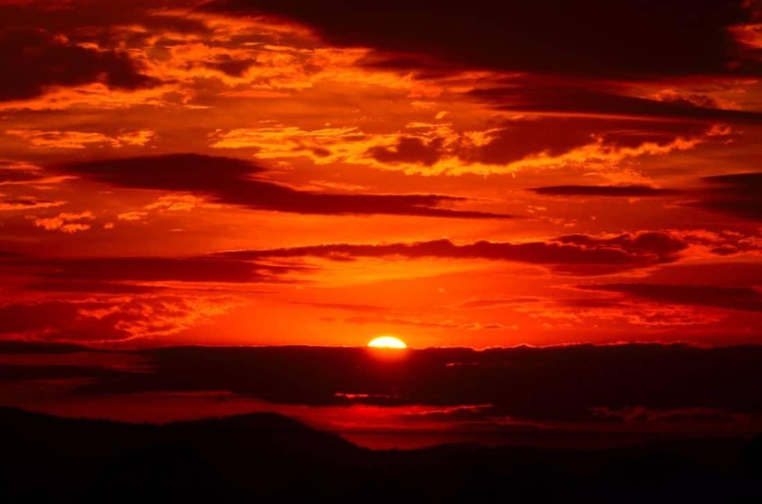 lever du soleil, ombre, obscurité, noir, rouge, aube, soleil, crépuscule, ciel, lever du soleil, paysage, horizon