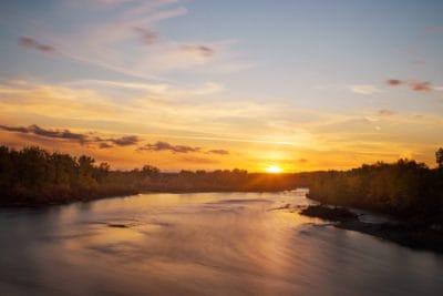 amanecer, nube, cielo azul, amanecer, agua, lago, paisaje, reflejo, sol