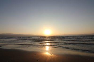 amanecer, cielo, contraluz, playa, agua, sol, amanecer, mar, océano, marino