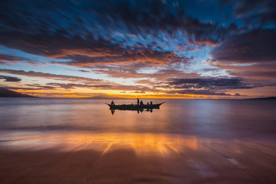 Alba, barca, alba, acqua, tramonto, riflesso, spiaggia, sole, oceano