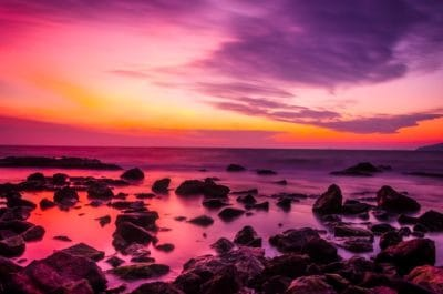 sunrise, colorful, twilight, dawn, water, dusk, sun, beach, ocean, sea, sky