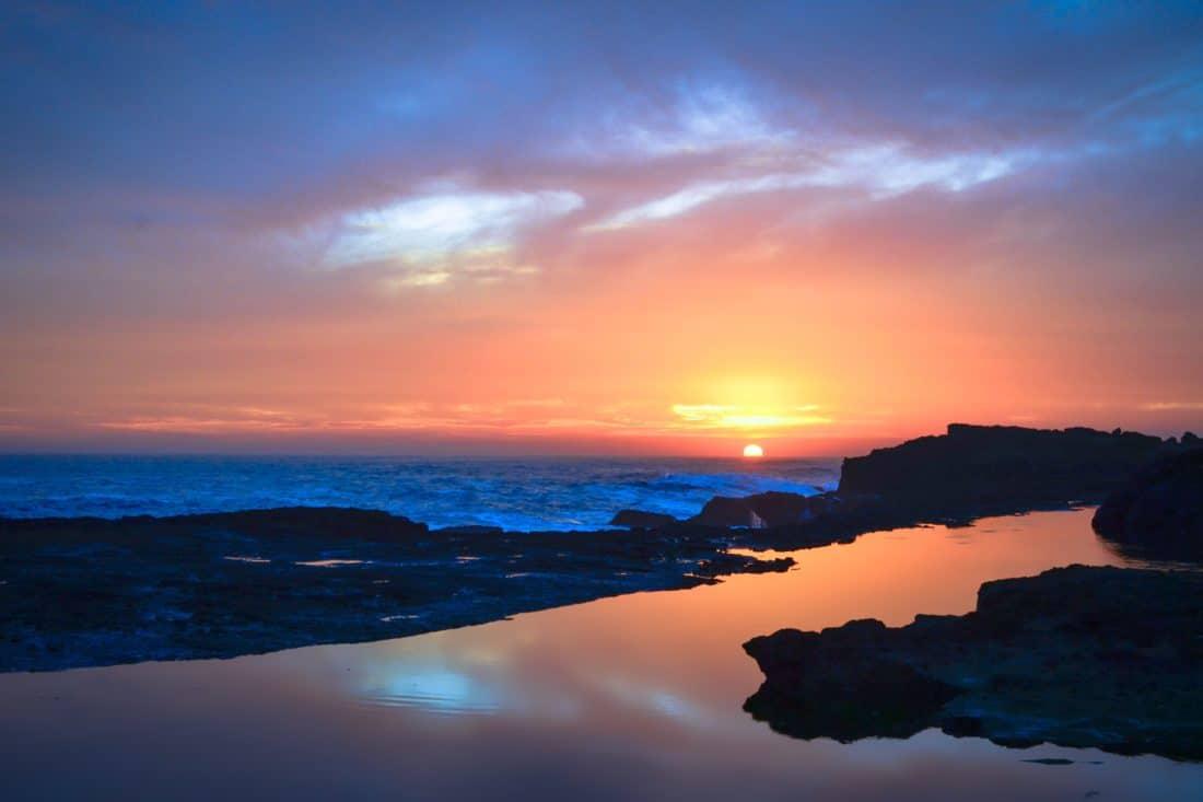 sunrise, sunlight, darkness, dawn, water, dusk, sun, beach, ocean, sea, coast