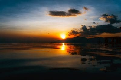 sunlight, darkness, sunrise, dawn, sun, water, dusk, beach, reflection, sky