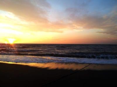 matahari terbit, langit, awan, backlit, dawn, senja, matahari, pantai, air, laut, laut, seascape