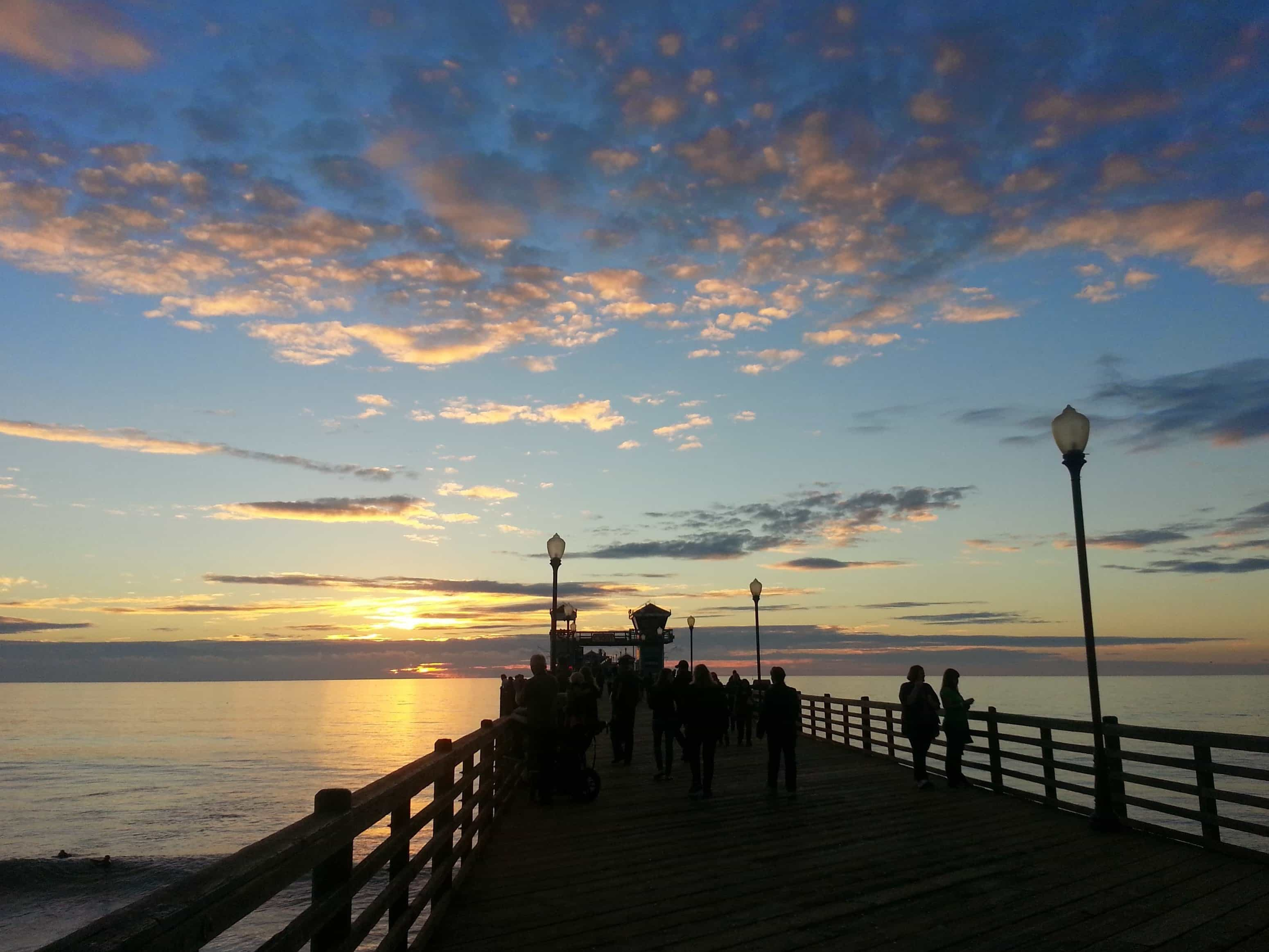 free picture sunrise pier shadow sunlight water