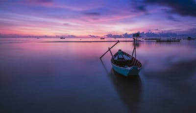 sunrise, mist, water, boat, colorful, dawn, dusk, sea, watercraft, reflection